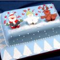Patchwork con motivos de la navidad: santa claus, muñeco de nieve y reno