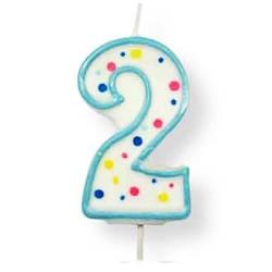 Vela de cumpleaños número 2 de PME, color blanco y azul