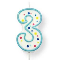 Vela de cumpleaños número 3 de PME, color blanco y azul