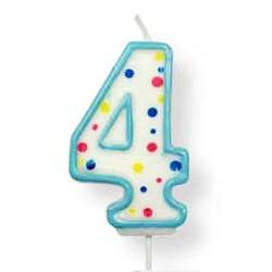 Vela de cumpleaños número 4 de PME, color blanco y azul