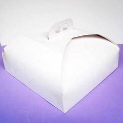 Caja cuadrada blanca para tartas 26x26 cm.