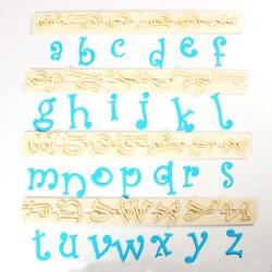 Imprenta FMM de letras minusculas, estilo Funky