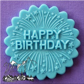 Molde de silicona diseño redondo y texto Happy Birthday Alphabet Moulds
