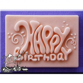 Molde de silicona diseño rectangular y texto Happy Birthday Alphabet Moulds