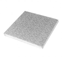 Base cuadrada color plateada 25 x 25 x 1,5 cm.