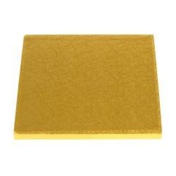 Base cuadrada 25x25 cm. para tartas en color oro Culpitt