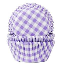 cupcakes, moldes cupcakes, magdalenas, Capsulas House Of Marie lilas con cuandrados blancos x 50 ud.