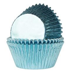 cupcakes, moldes cupcakes, magdalenas, Capsulas House Of Marie azul bebe aluminio x 24 ud.