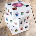 caja cupcakes, caja magdalenas, mini cupcakes. Caja FunCakes, diseño de cupcakes y ventana transparente.