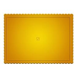 base rectangular dorada con petalos, bandeja tartas