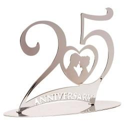 TOPPER METALICO 25 ANIVERSARIO, tartas de aniversario de bodas, Decora