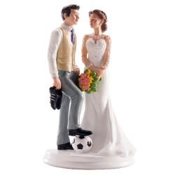 FIGURA PAREJA BODA FUTBOL, figura para tartas de boda, Dekora