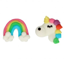 Decoracion comestible con diseño de unicornios y arco iris en pasta de azúcar FunCakes