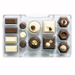MOLDE POLICARBONATO Decora GEOMETRICO, bombones chocolate