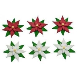 Decoracion comestible flores de pascua en pasta de azúcar