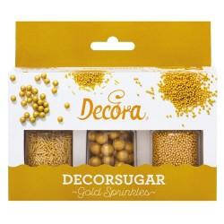 SPRINKLES SET PERLAS Y VIRUTAS ORO, decoracion azucar Decora
