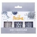 SPRINKLES SET PERLAS Y VIRUTAS PLATA, decoracion azucar Decora