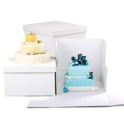 Caja cuadrada alta en color blanco para tartas