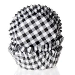 MINI CAPSULAS CUADROS NEGRO BLANCO, moldes para mini cupcakes, papeles magadalenas