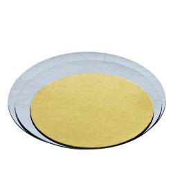 BASE ORO PLATA REDONDA, bases de carton resistente para tartas, presentacion, Decora postres