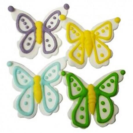 Decoracion comestible con diseño de mariposas en pasta de azúcar, Decora