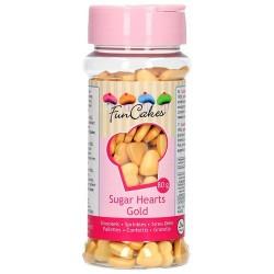 Corazones azucar comestible, FunCakes, color oro