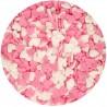 CORAZONES de azucar FunCakes , corazones comestibles ROSA y BLANCO