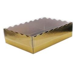 CAJA GALLETAS ORO y TAPA TRANSPARENTE, caja dulces dorada