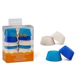 Mini cápsulas azules y blancas para mini magdalenas