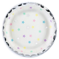 PLATOS ESTRELLAS UNICORNIO, platos de papel fiestas de cumpleaños