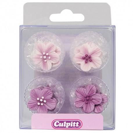 Flores y hojas púrpuras en pasta de azúcar Culpitt, decoraciones de azucar cupcakes, galletas