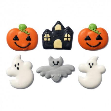 Decoracion comestible con motivos de halloween en pasta de azúcar, Decora, galletas cupcakes decoradas