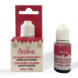 Colorante liquido liposoluble Decora rosa, colorante para chocolate y cremas grasas