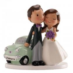 Figura pareja boda coche Just Married, tarta boda recien casados