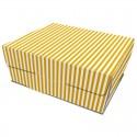 Caja comida take away, diseño rayas blancas y amarillas