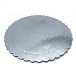 Base redonda rizada Plata 25 cm