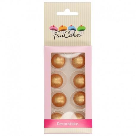 Bolas de chocolate FunCakes Oro, decoracion postres