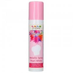 Spray FunCakes Blanco perlado, colorante spray alimentario