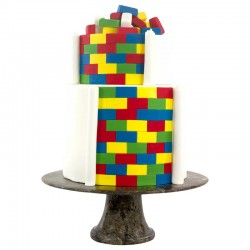 Multi cortantes PME, tartas decoradas geometricas, fondant ladrillo