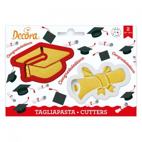 Cortantes Graducion escolar birrete diploma, Decora, galletas decoradas fondant