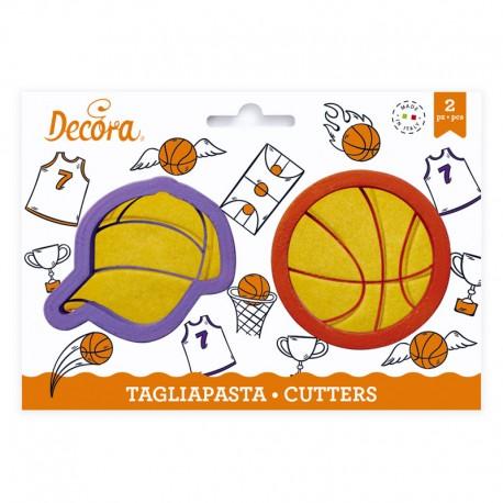 Cortantes Baloncesto gorra y pelota basket, Decora, galletas decoradas fondant