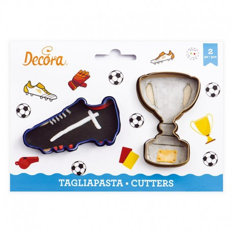 Cortantes fútbol trofeo y bota, Decora, galletas decoradas fondant