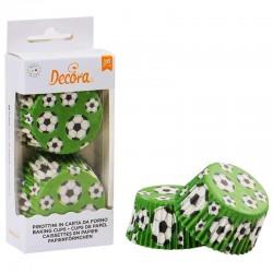 Cápsulas balones futbol, Decora, moldes papel cupcakes magdalenas
