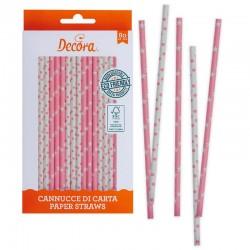 Pajitas de papel rosa y blanco, pajitas fiesta y mesas dulces