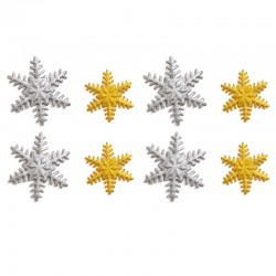Decoración de azúcar Copos de nieve Oro x 8