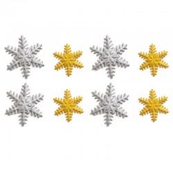 Decoración de azúcar Copos de nieve Oro x 8u