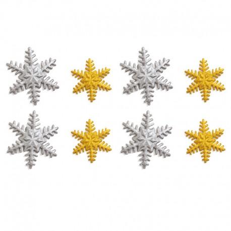 Decoración de azúcar copos de nieve oro plata, Decora