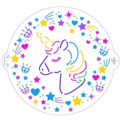 Plantilla stencil unicornio, decoracion tartas, Decora