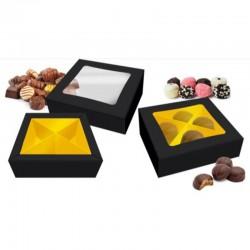 Caja carton negra con ventana, macarons, bombones, galletas