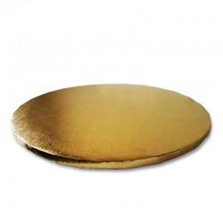 Base carton redonda dorada, presentación tartas y postres